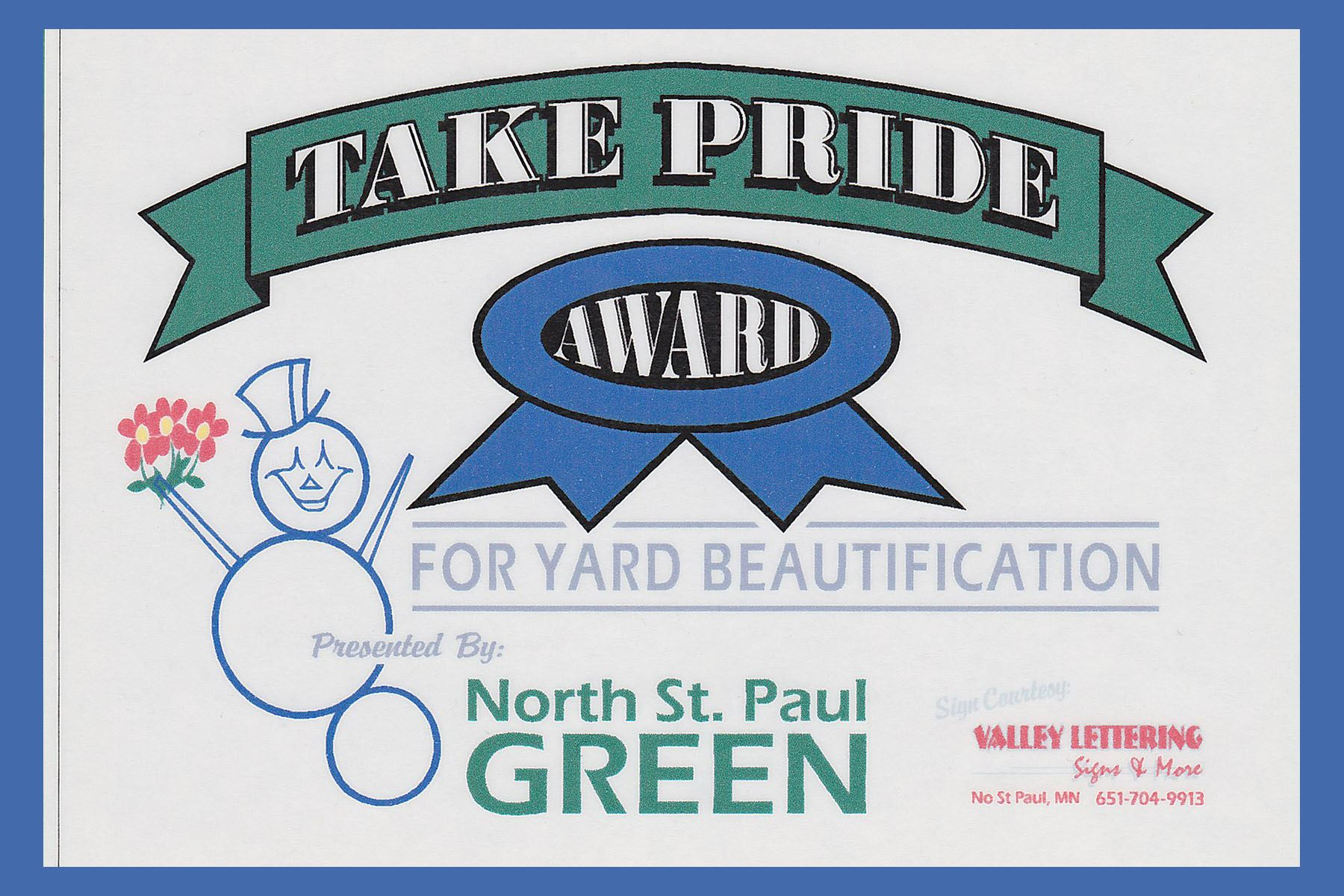 Take Pride Award for Yard Beautification