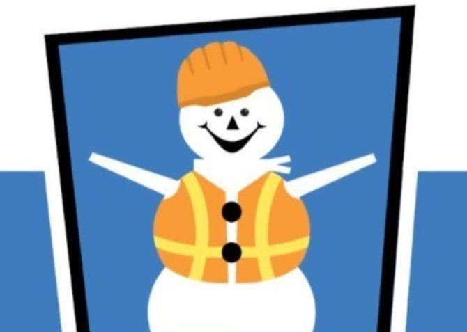 Snowman Wearing Safety Gear