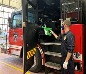 North St. Paul Fire Fighters Sanitize Their Equipment